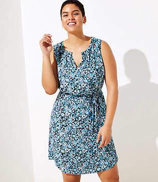 LOFT Plus Floral Split Neck Tie Waist Dress