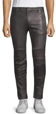 Balmain Rib-Paneled Leather Pants