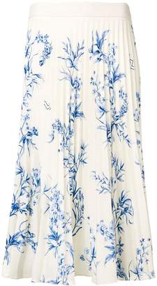 Ssheena pleated floral print skirt