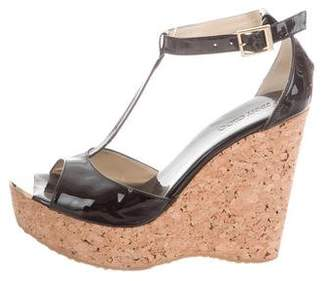 Jimmy Choo Patent Leather T-Strap Wedges