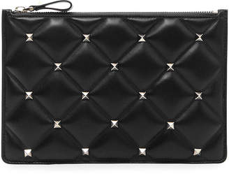 edcdf792d831 Valentino Candystud Medium Flat Quilted Leather Pouch Bag