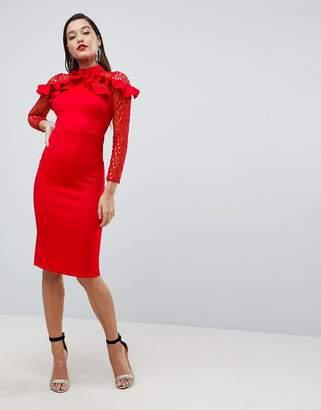 Asos DESIGN Premium Midi Pencil Dress with Mesh and Frill Details