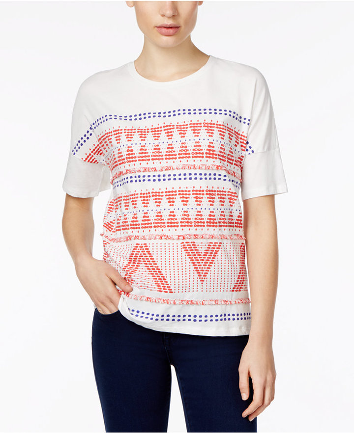 Max MaraWeekend Max Mara Etere Cotton Geo-Print Fringe T-Shirt