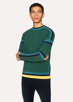 Paul Smith Men's Green Cotton Crew Neck Striped Sweater