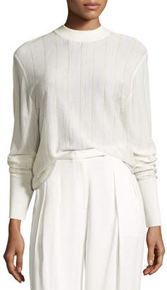 DKNY Long-Sleeve Pinstripe Wool-Blend Sweater, Gesso $258 thestylecure.com