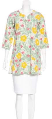 Engineered Garments Floral Print Three-Quarter Sleeve Tunic