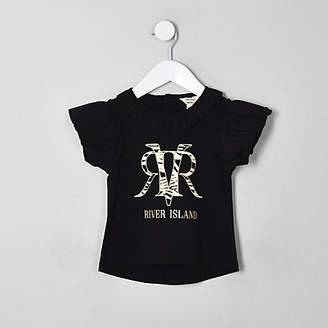 a3718ebb River Island Mini girls black RI zebra print T-shirt