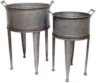 Gracie Oaks Alexander 2 Piece Galvanized Tin Washtub Beverage Bucket on Stand Set