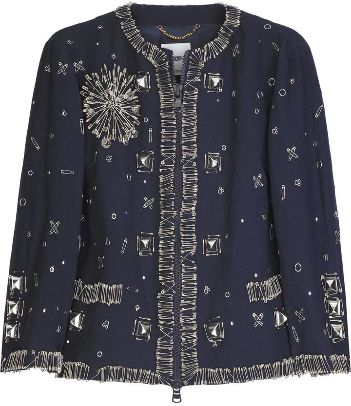 Moschino Embellished wool-blend cropped jacket