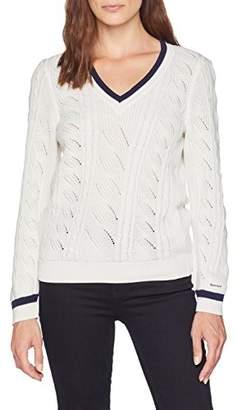 Gant Women's PO1 Tennis Cable V-Neck Sweatshirt,(Size: M)