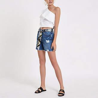 River Island Blue belted boyfriend denim shorts