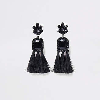 River Island Black rectangle jewel tassel clip on earrings