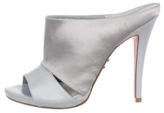 Herve Leger Satin Slide Sandals Silver Satin Slide Sandals