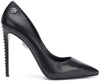 Philipp Plein silver studded stiletto heels
