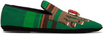 Loewe Green Embroidered Toes Slippers