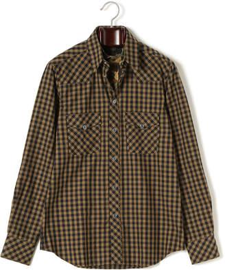 N°21 (ヌメロ ヴェントゥーノ) - N 21 チェック カモフラージュ柄切替 レイヤードカラー 長袖シャツ ブラックxカーキ s