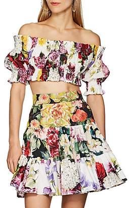 c90d445636dc1e Dolce   Gabbana Women s Smocked Floral-Print Cotton Crop Top - White