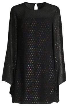 Trina Turk Winterluxe Tess 2 Metallic Multicolor Polka Dot Shift Dress