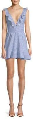 Deep V-Neck Cotton Mini Dress