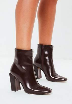 Missguided Burgundy Feature Heel Full Zip Ankle Boots