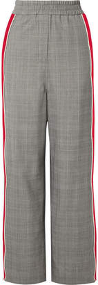 Calvin Klein Striped Prince Of Wales Checked Wool Straight-leg Pants - Gray