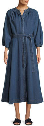 Co Pouf-Sleeve Self-Tie Denim Long Dress
