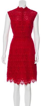 Valentino Floral Crochet Lace Dress Red Floral Crochet Lace Dress