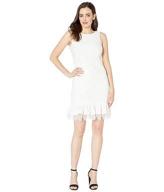 Calvin Klein Ruffle Hem Dress with Lace Detail