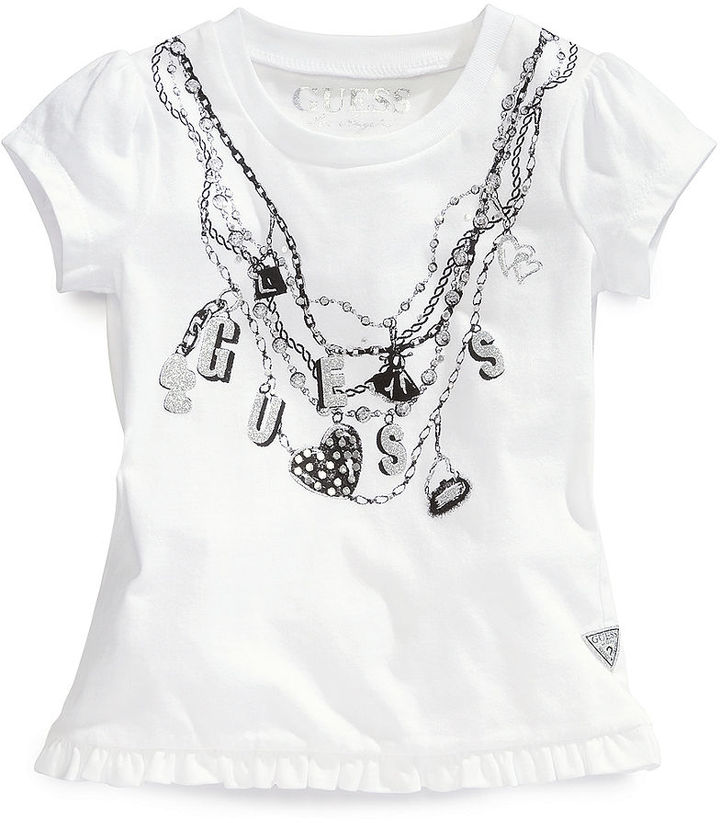 GUESS Shirt, Little Girls Puff-Sleeved Logo Top