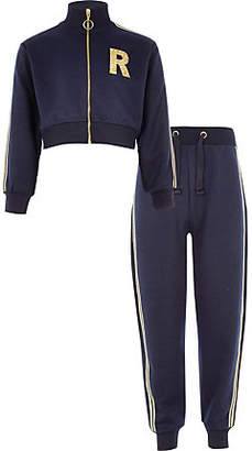 River Island Girls Navy 'R' glitter tracksuit outfit