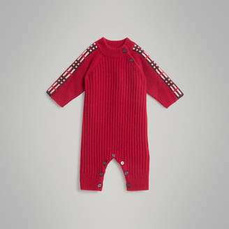 Burberry Childrens Check Detail Cashmere Jumpsuit