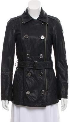 Burberry Leather Zip-Up Jacket