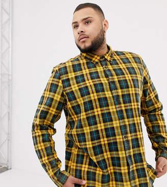 Asos DESIGN Plus regular fit check shirt in black & mustard with acid wash
