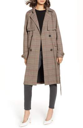 Chelsea28 Plaid Trench Coat