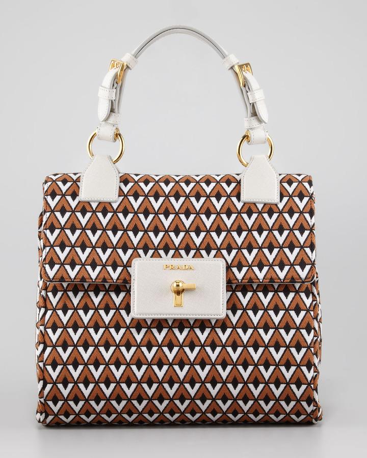 Prada Top Handle Jacquard Bag