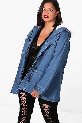 Plus Safia übergroßer Festival-Hemdjacke mit Kunstfell-Kragen in Blau