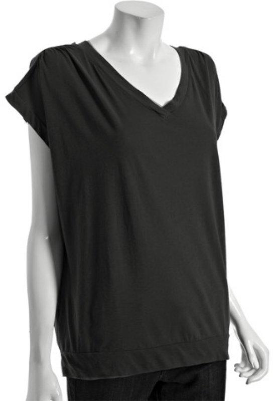 Fluxus black cotton v-neck dolman short sleeve t-shirt