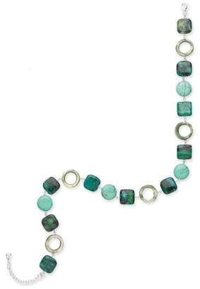 Goldmajor Sterling Silver, Reconstituted Magnesite, Serpentine and Mother of Pearl Necklace of 42cm with 6cm Extender