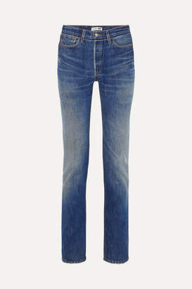 RE/DONE Levi's Distressed High-rise Straight-leg Jeans - Mid denim