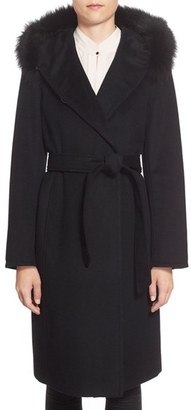 Women's Ellen Tracy Genuine Fox Fur Trim Long Hooded Wool Blend Coat $448 thestylecure.com
