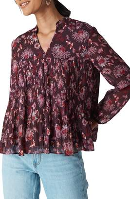 Whistles Piti Print Pleated Chiffon Blouse