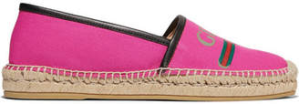 Gucci Pilar Leather-trimmed Logo-print Canvas Espadrilles - Pink