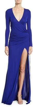 Galvan Allegra Long-Sleeve V-Neck Slit-Leg Gown