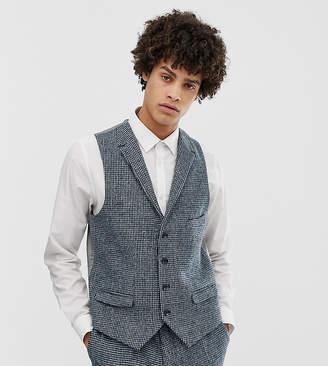 Noak slim fit harris tweed suit vest in blue