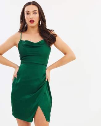 Missguided Satin Strappy Cowl Neck Mini Dress