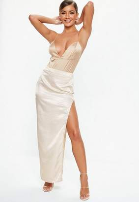 Missguided Nude Extreme Slit Maxi Skirt