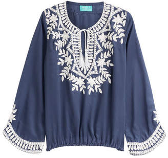 TAJ Embellished Silk Top