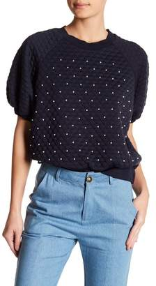 TOV Quilted Short Sleeve Bead Top