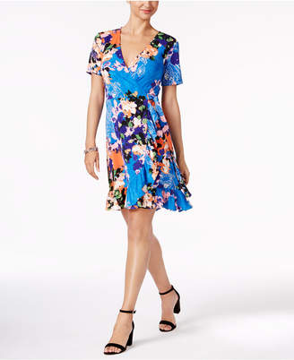 Eci Printed Faux-Wrap Dress $60 thestylecure.com