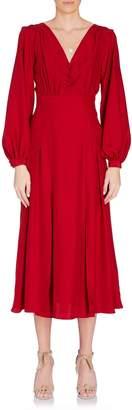 Raquel Diniz Dalia Deep V Midi Dress in Red